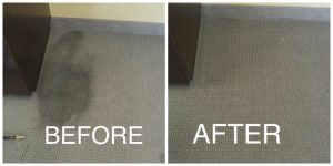 before and after coffee stain on carpet